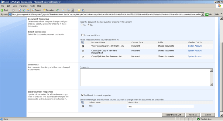 About SharePoint Batch Check In