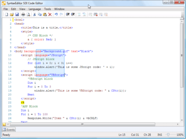 SyntaxEditor adds text string parsing