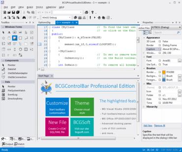 BCGControlBar Library Pro 19.0 supports Visual Studio 2012